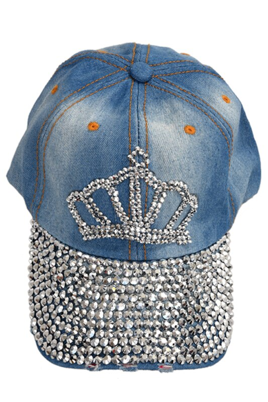 Chic Crown Pattern Washed Frayed Denim Rhinestoned Baseball Cap Hat For Women