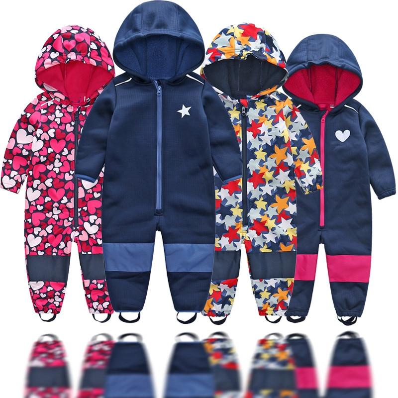 Children's soft shell plus velvet integrated windproof and rainproof jumpsuit Children's waterproof