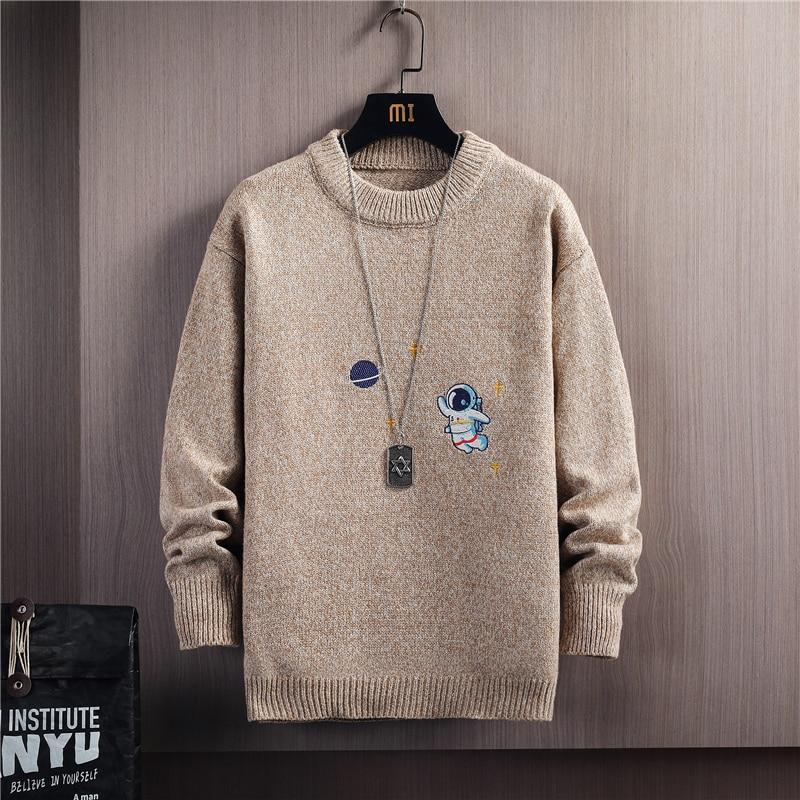Мужские свитеры, новые мужские Зимние Повседневные Пуловеры, свитеры, Молодежные свитеры с вышивкой астронавта и круглым вырезом, зимняя од...