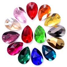 36 unidades/pacote forma de gota de água brocas de vidro de costura artesanal para diy artesanato vestuário acessórios materiais