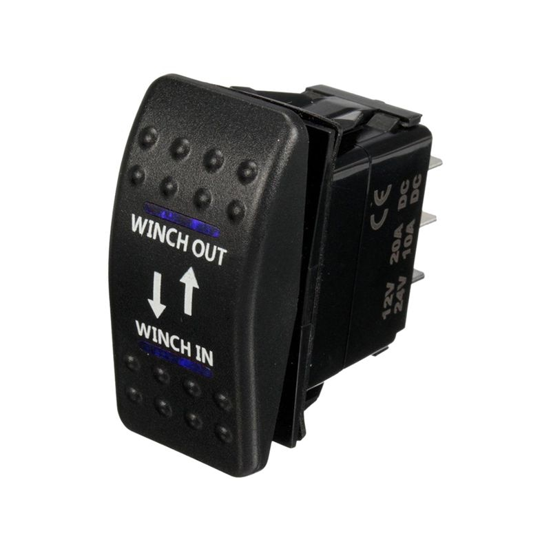 Cabrestante de 12V, 20a, con interruptor basculante de 7 pines, LED azul