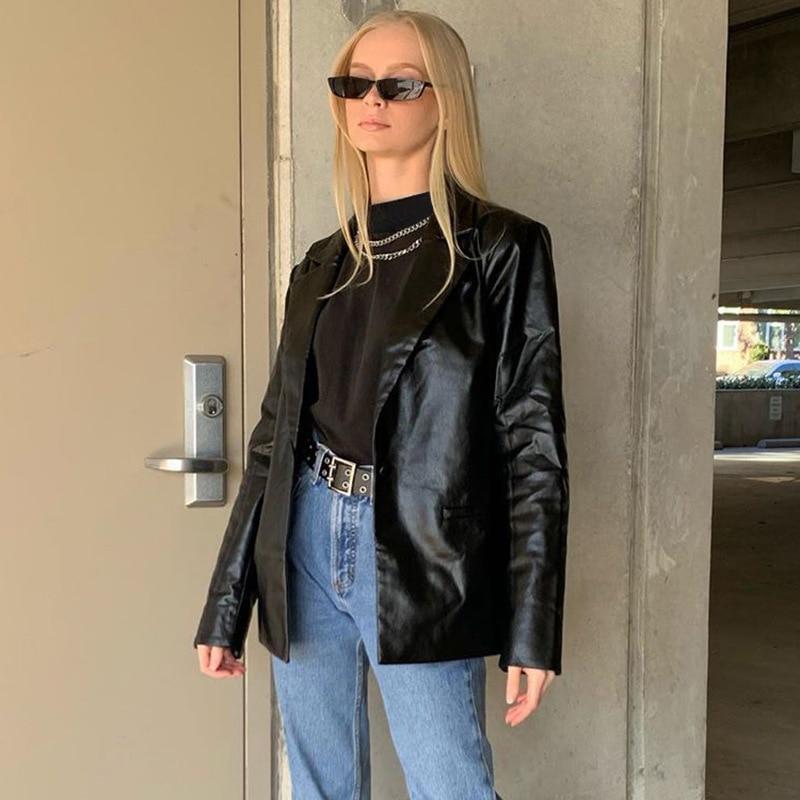 Mode noir surdimensionne dames costume en cuir Blazer femmes Blouson de Moto en cuir noir Vintage et chaud pour femme ample