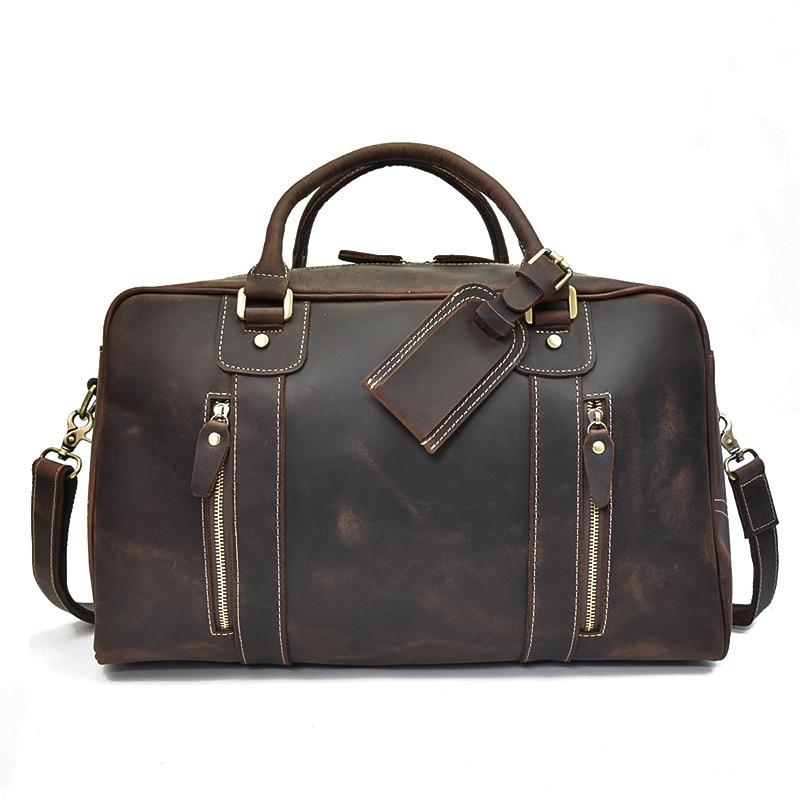 European and American men's leather travel bag Crazy Horse leather boarding handbag large-capacity leather duffel bag shoulder m