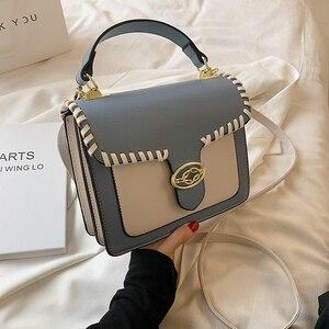 Contrast color Square Tote bag 2021 New High-quality PU Leather Women's Designer Handbag Luxury brand Shoulder Messenger Bag