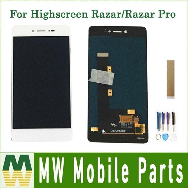 Calidad Original para Highscreen Razar/Razar Pro pantalla LCD montaje de pantalla táctil Color blanco con cinta de herramientas