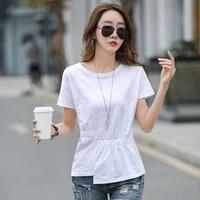 solid high waist cotton long women t shirt pleated asymmetry o neck short sleeve ladies tops tees summer street wear new 2021
