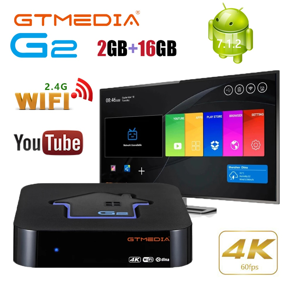 GTMEDIA G2 مربع التلفزيون الذكية Android7.1.2 فيلم مستقبل التلفاز 2.4G واي فاي 4K H.265 فك سرعة أوروبا Tv Netflix مشغل الوسائط Xtream M3U