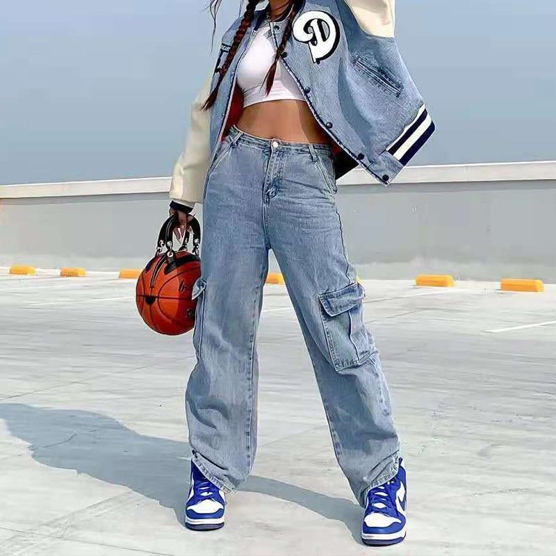 فضفاض البضائع السراويل النساء 2021 جديد فضفاض وزرة الدنيم أمي موضة الجينز جيب كبير عالية الخصر الجينز Y2k الأزرق خمر الشارع الشهير