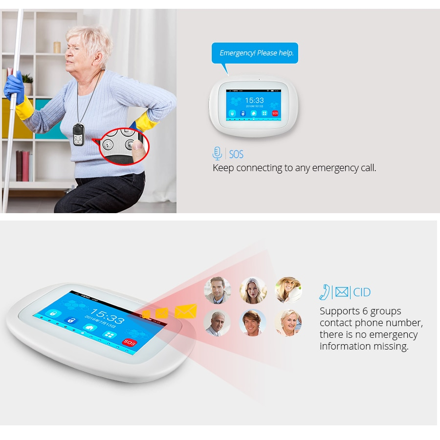 KERUI K52 Large Touch Screen Wireless GSM WIFI Home Security Alarm System Sensor Smoke Signal Device Surveillance IP Camera enlarge