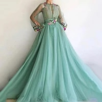 eightree evening dresses 2020 a line long puff sleeves tulle embroidery prom dress dubai saudi arabia formal evening party gown