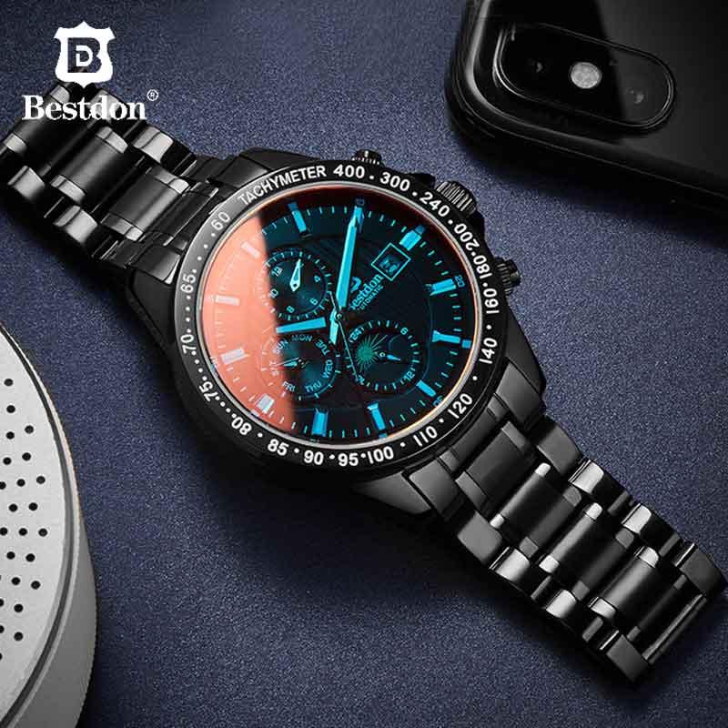 Bestdon militar relógio mecânico masculino de cristal safira à prova dwaterproof água esportes relógios homem marca luxo relogio masculino