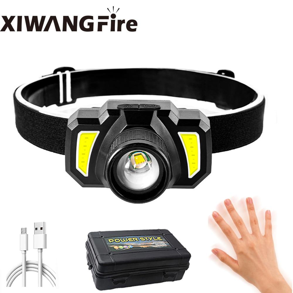 Smart Induction LED Headlamp Micro USB Charging Long-shot Strong Headlight Telescopic Zoom Outdoor Riding Night Fishing Headlamp