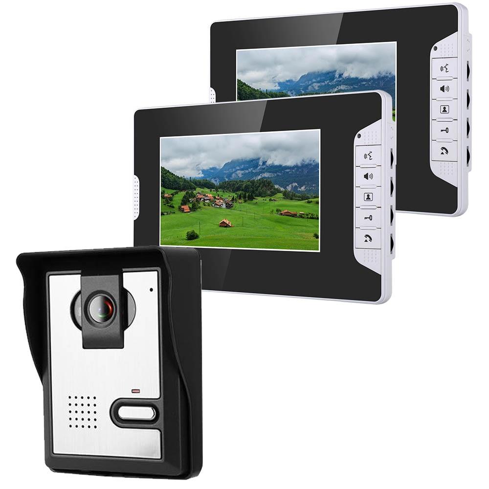 7 بوصة الفيديو باب الهاتف الجرس إنترفون كيت 1-كاميرا 2-مراقبة للرؤية الليلية مع 700TVL كاميرا