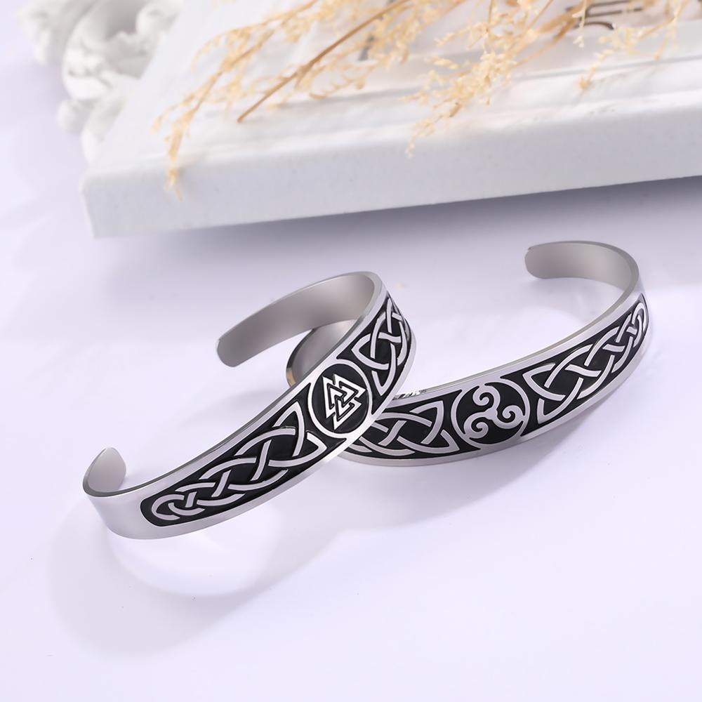 Myshape Women Bangle Celtics Knot Symbol Ireland Hrunger Valknut 316L Stainless Steel Cuff Bracelet Viking Nordic Engraved Gift