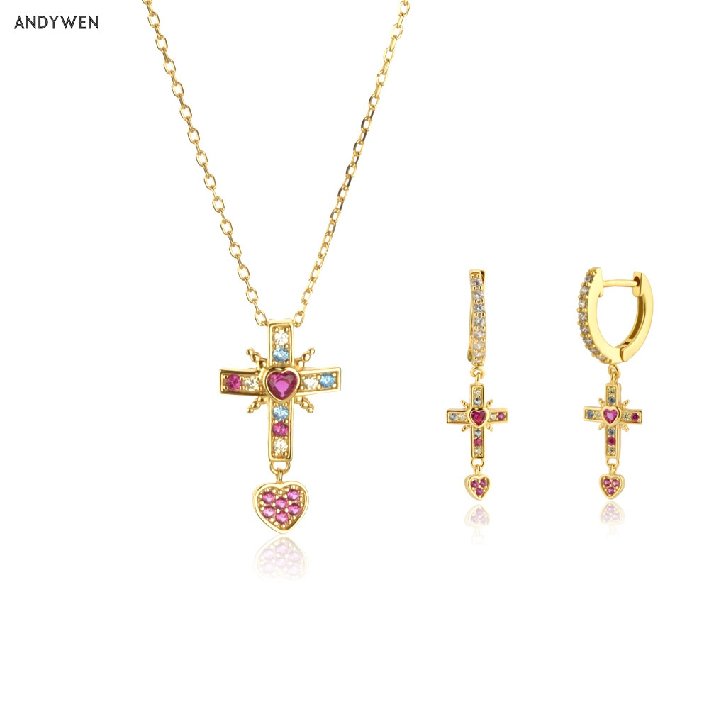 ANDYWEN 925 Sterling Silver Gold Rose Cross Pendiente Drop Earring Zircon Colorful Cross Pendant Long Chain Necklace Jewelry Set