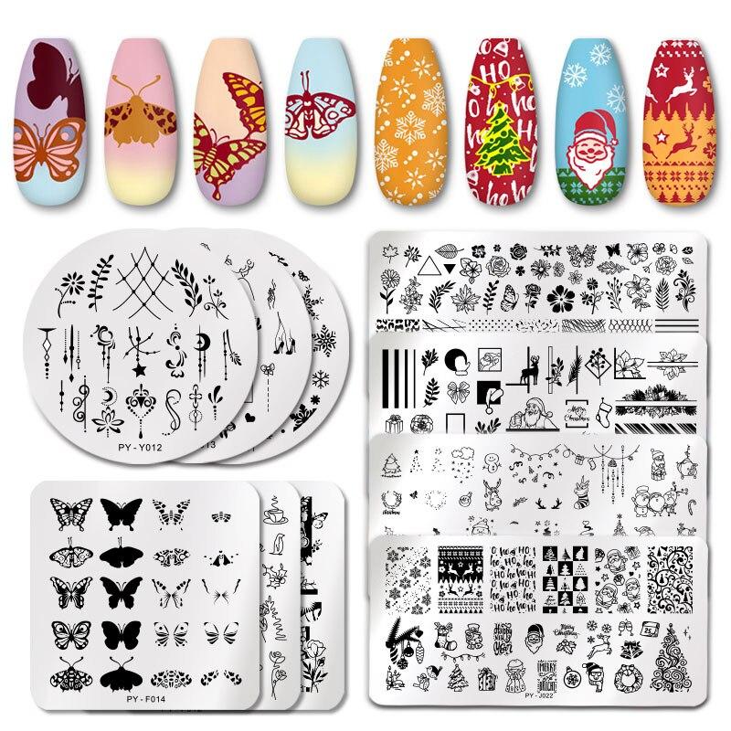 PICT YOU Рождество Фестиваль новый год снежинка шаблон ногтей штамповки пластины для дизайна ногтей трафарет из нержавеющей стали дизайн ногтей