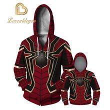 3D Printed The Avengers Iron Spiderman Cosplay Costume Hoodies Men Spider Verse Cosplay Sweatshirts Kids 7T - 13T Casual Tops