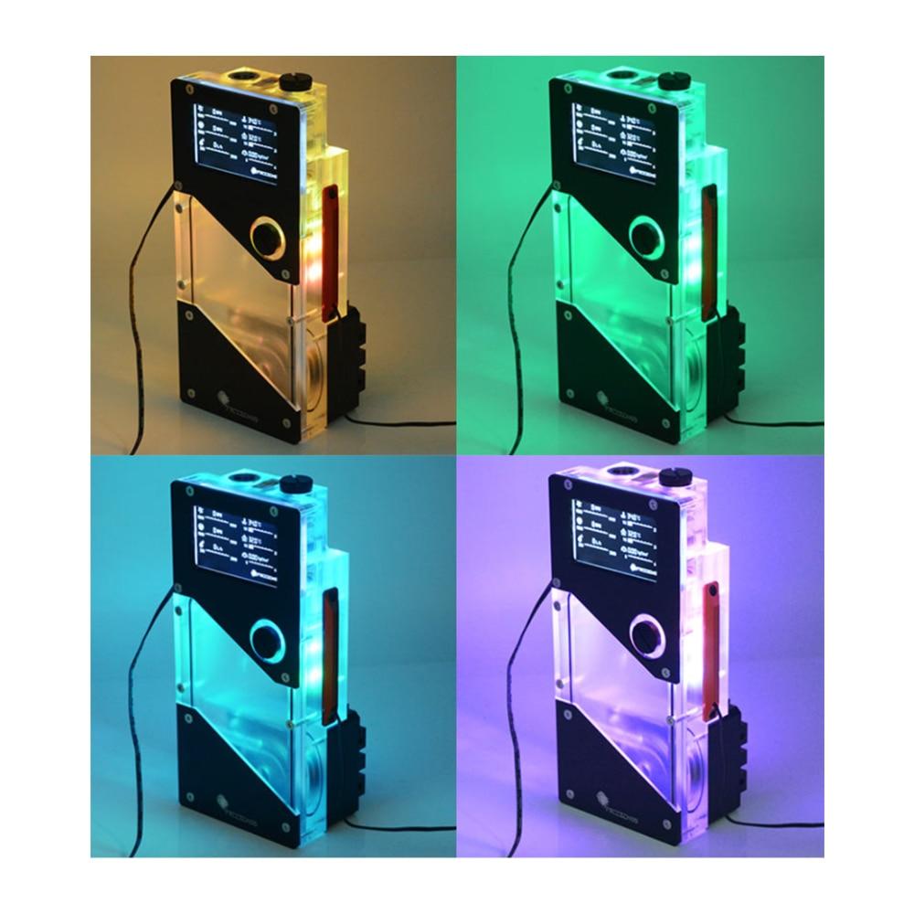 كبير 4Pin + صغير 4Pin RGB مبرد مياه خزان مضخة متكاملة ضغط الهواء سرعة تدفق معدل ودرجة الحرارة عرض PUB-FXDDC