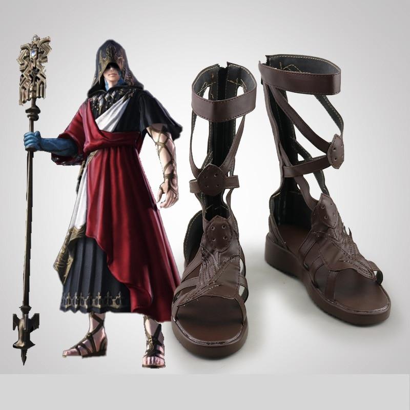 أحذية بتصميم الرسوم المتحركة للجنسين من نوع فاينل فانتاسي طراز FF14 لأزياء الكريستالية الانيمي التأثيرية أحذية مصنوعة حسب الطلب