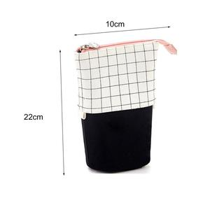 Stand Up Portable Grid Pencil Holder Telescopic Pen Case Pouch Bag for School