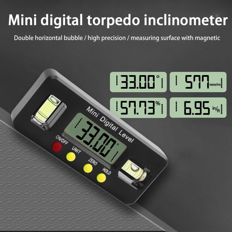 100mm digital transferidor inclinômetro nível caixa de medida à prova dwaterproof água goniômetro ímã calibre régua