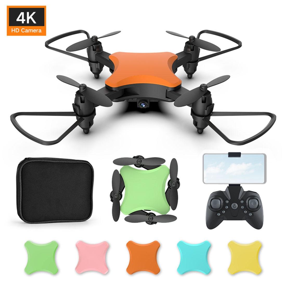 Mini Drone plegable Drone 4K HD cámara de vídeo WiFi FPV Control de voz Sígueme RC helicóptero Quadrocopter con 5 carcasas KY902 KY902S