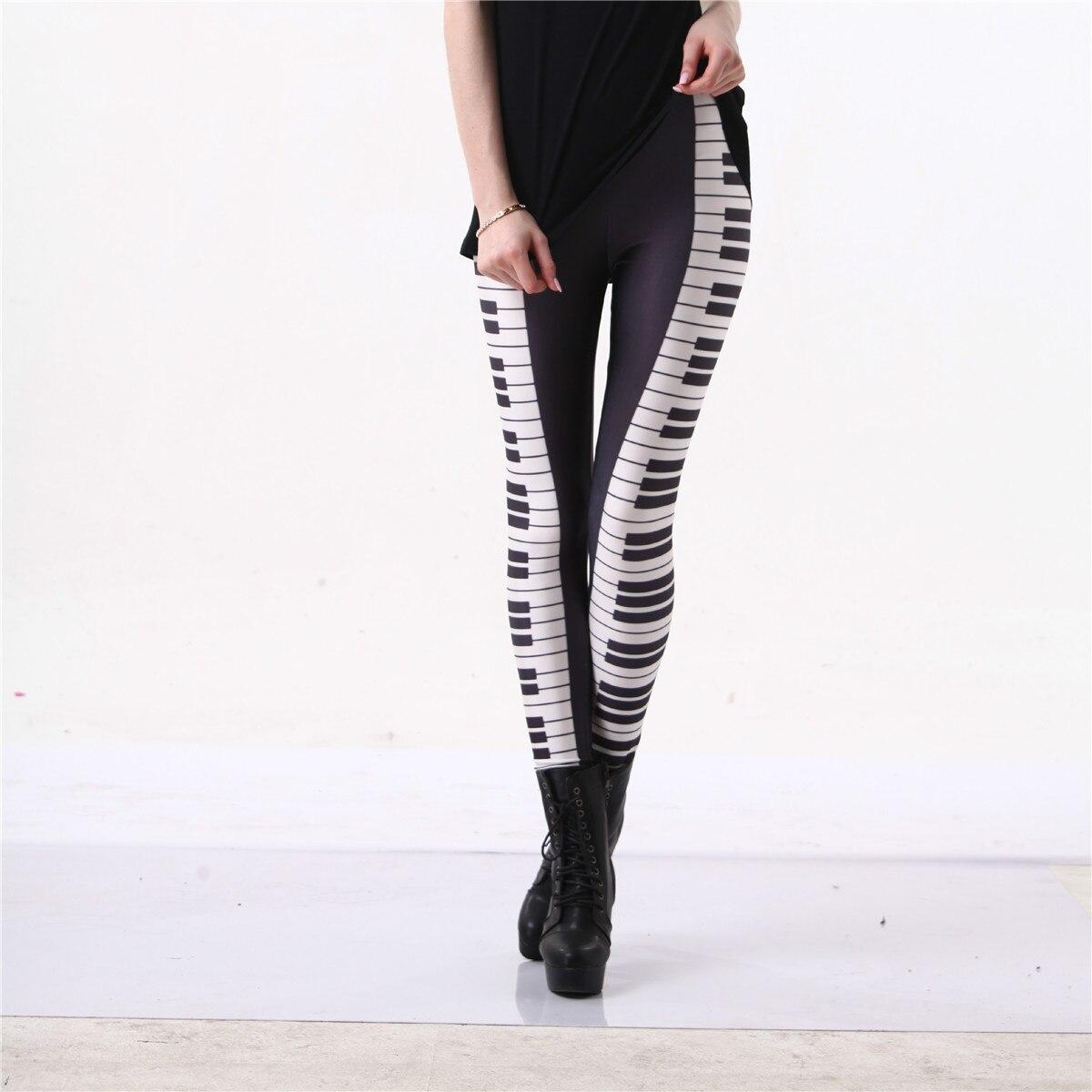 Piano Leggings Black White Stripe Sexy Leg Hot 3D Graphic Printed Music Keys Fitness Leggings Pants Gymwear Funky Capris S-4XL