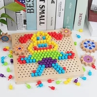 mushroom nail puzzle educational didactical intelligent games diy wooden flashboard children learning educational toy gifts