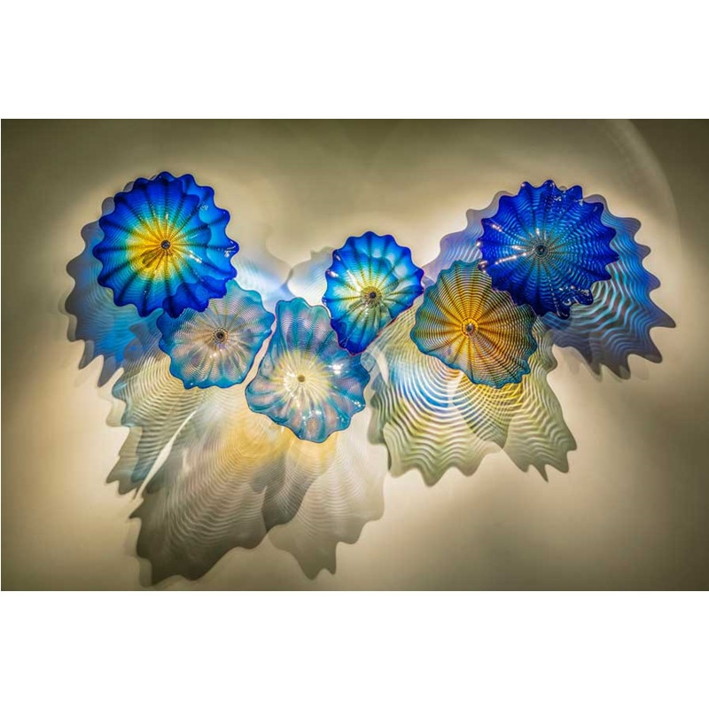 Platinas de cristal Murano de diseño moderno 6 uds. Placa de pared para el hogar tono azul estilo marino colgante decorativo arte de pared