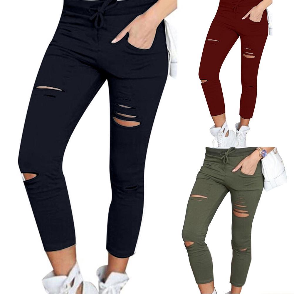 Женские однотонные брюки-карандаш со шнуровкой и высокой талией, рваные облегающие леггинсы с высокой талией, брюки-карандаш, рваные обтяги...