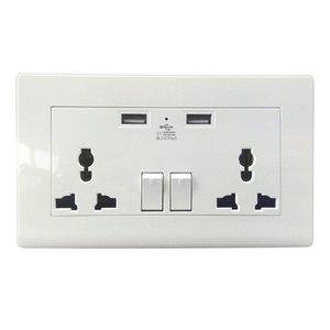 2 Gang 1000mA Wall Socket Dual USB Port Outlets Plate Panel Universal Plug High Quality 2017