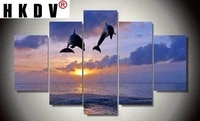 hkdv 5 panels canvas painting sunset seaside modular hd printed animals dolphins posters wall picture for living room home decor