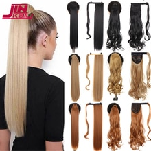 JINKAILI Long Straight Wrap Around Clip In Ponytail Hair Extension Heat Resistant Synthetic Pony Tail  Hair Wig