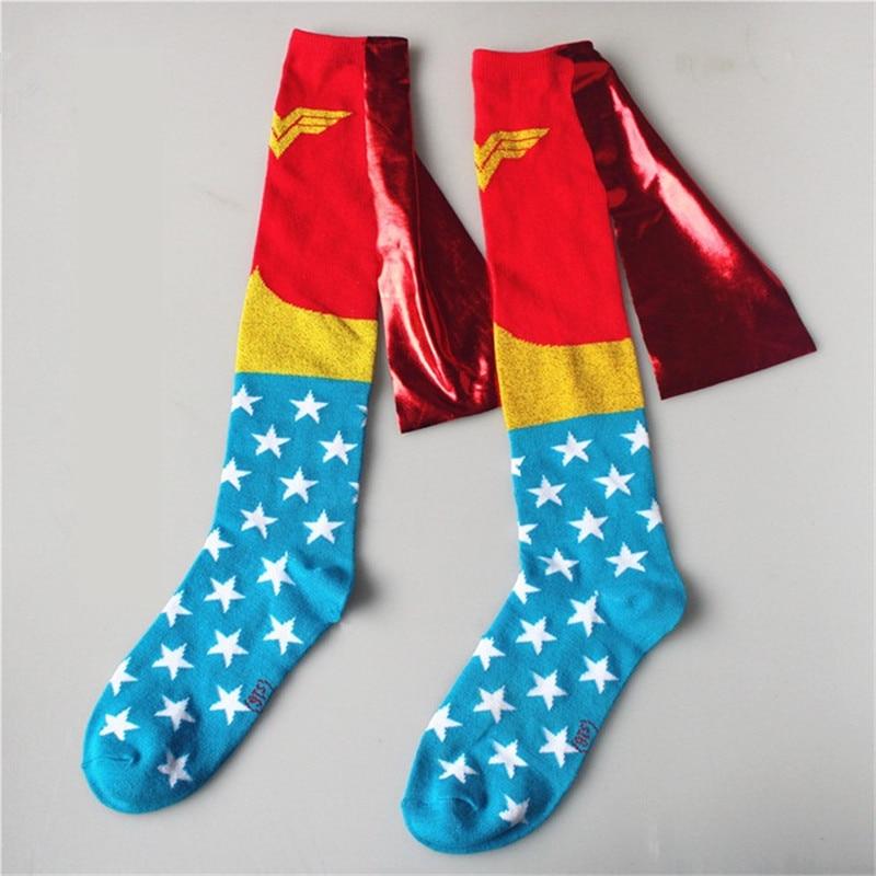 Takerlama Woman Cape Knee-High Socks Stockings Red Blue - Knit on Cape Cosplay Bright Cloak Cotton Calf Socks