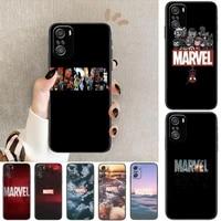 marvel logo avengers phone case for xiaomi redmi 11 lite 9c 8a 7a pro 10t 5g cover mi 10 ultra poco m3 x3 nfc 8 se cover
