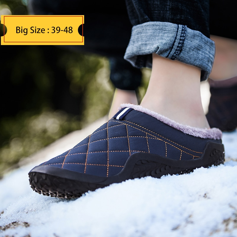 Cotton Slippers Men Winter Outdoor Men Shoes WaterProof Cold-Proof Casual Shoes Men Plush Warm Man F