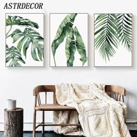 astrdecor watercolor leaves wall art canvas painting green plant nordic style posters and prints decorative picture home decor