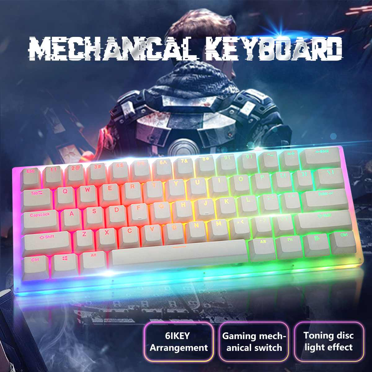 Review Gamakay K61 61 Keys Mechanical Gaming Keyboard Tyce-C Wired RGB Backlit keyboard Gateron Switch Crystalline Base Hot Swappable