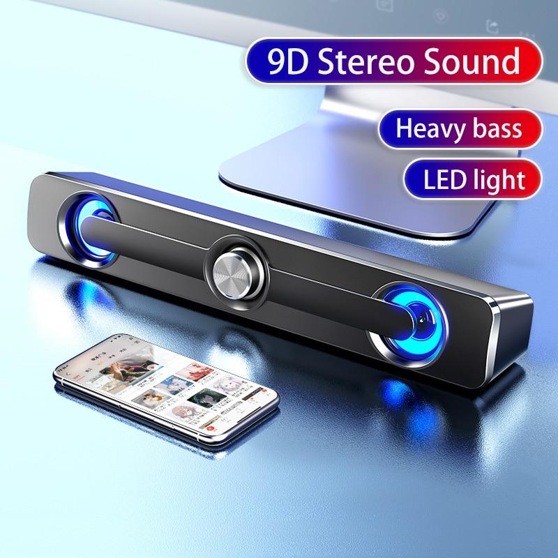 Barra de sonido LED para ordenador, altavoz con Bluetooth, USB, 3D, estéreo,...