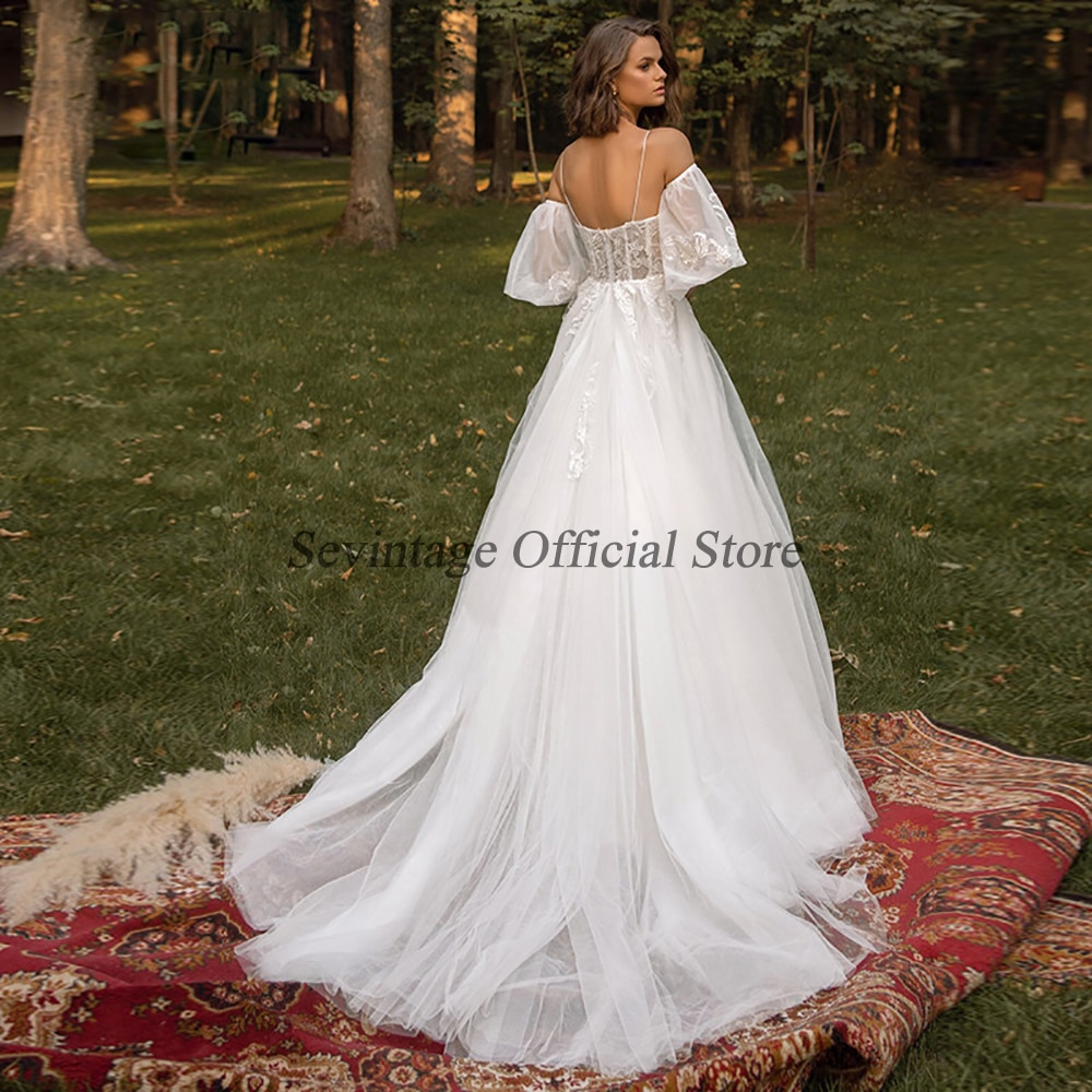 SevintageA Line Wedding Dresses Puff Sleeves Lace Appliques Bridal Gowns Backless Spaghetti Straps Wedding Gown Custom made