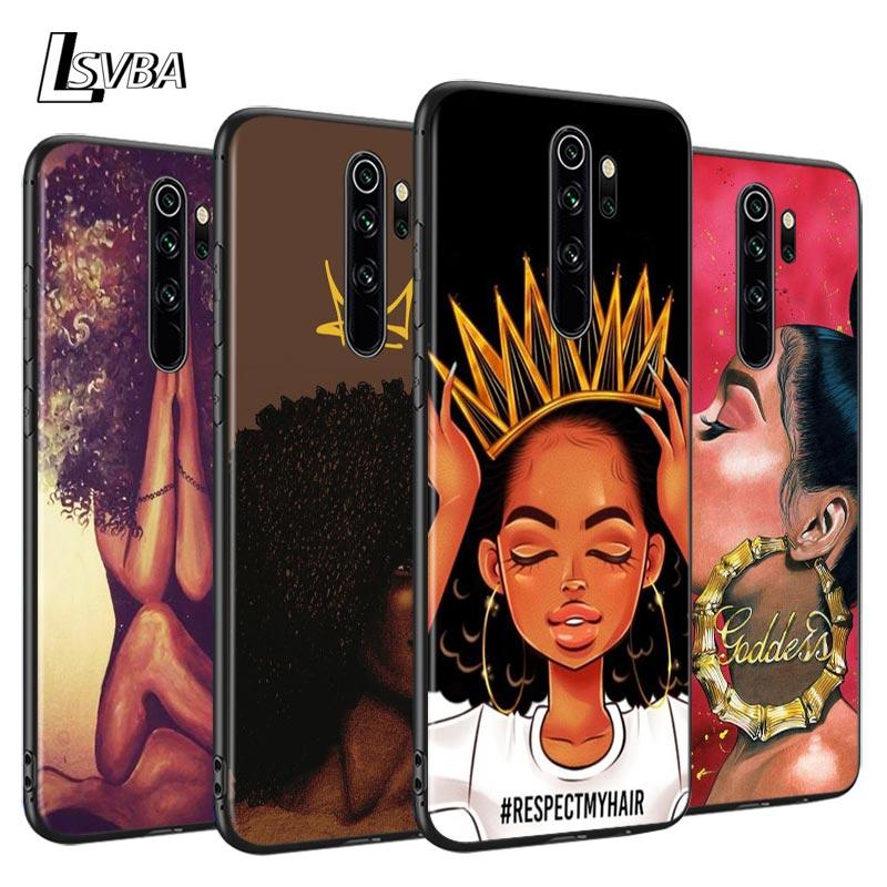 Reine Afro mélanine Poppin Anti-chute coque de téléphone pour Xiaomi Redmi Note 9 9S Max 8T 8 7 6 5 Pro 5A 4X 4 souple noir couverture Capa
