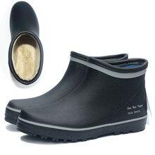 EXCARGO court Tube caoutchouc bottes hommes imperméable à leau chaussures 2020 nouveau mâle bottes de pluie avec fourrure chaussette cheville bottes de pluie pour hommes