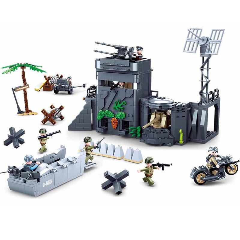 Militaire allemand armée atlantique Fort Bastion MOC blocs de construction ensemble arme guerre Chariot soldat WW2 briques modèle classique enfants jouets