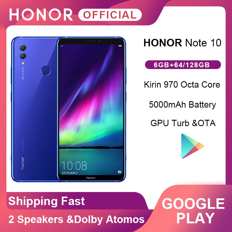 Original Honor Note 10 Google Play Smartphone Kirin 970 Octa core 6.95 inch 24MP+16MP AI Cameras 5000mAh Moblie Phone Android