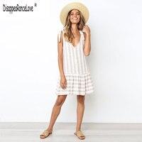 Vintage striped women dress Ruffle linen White elegant summer dress 2020 Casual cotton fashion female beach vestidos