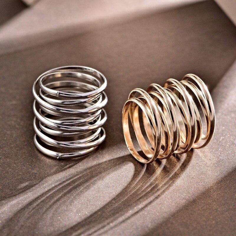 2020 joyería de moda para mujeres Multi-capa oro plata Color dedo anillo 24MM ancho minimalista espiral anillos gótico Punk joyería