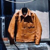 yrfree shipping original leather luxury vegetable tanned cowhide jacketclassic casual styleslim vintage genuine leather coat