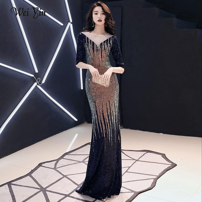 AE0161 wei yin Evening Dress Long Sparkle 2020 New O-Neck Women Elegant  Sequin Mermaid Maxi Evening Party Gown Dress