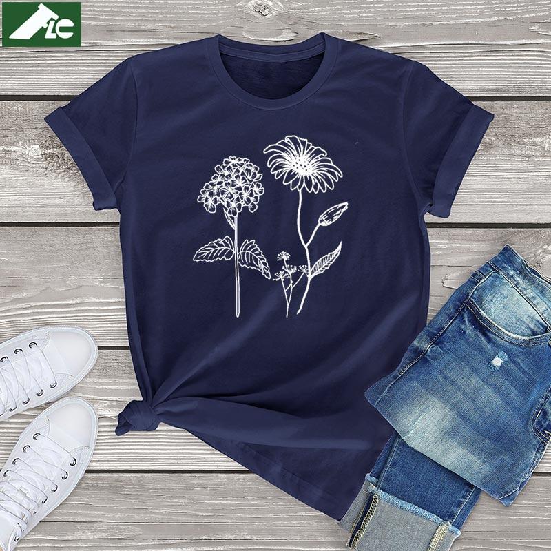 100 Cotton Wildflower Graphic Womens Shirts Kpop Fashion Wild Flowers T Shirt Women Clothing Unisex Botanical Short Sleeve Tees
