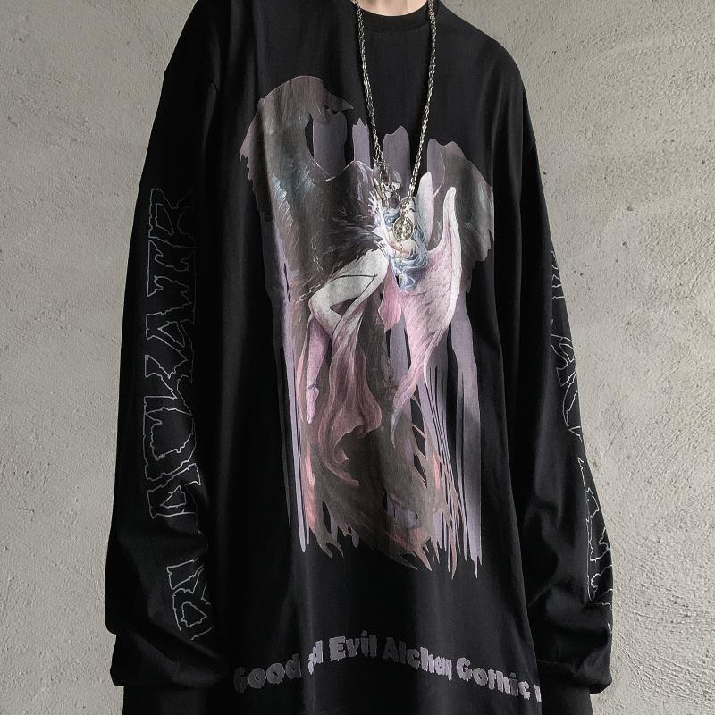 Gothic Dark Tshirt Streetwear Vintage Retro Harajuku Devil Print T Shirt Mall Goth Tops Long Sleeve Couple Unisex 2021